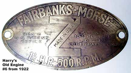 Fairbanks Morse 1-1/2 H.P. Brass Tag from FRONT of Hopper