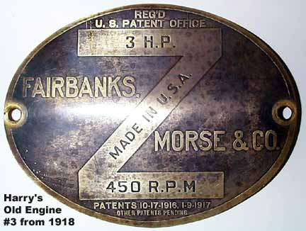 Fairbanks Morse 3 H.P. Brass Tag from FRONT of Hopper